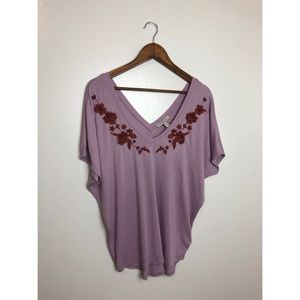 Express V-Neck Blouse w/ Embroidery